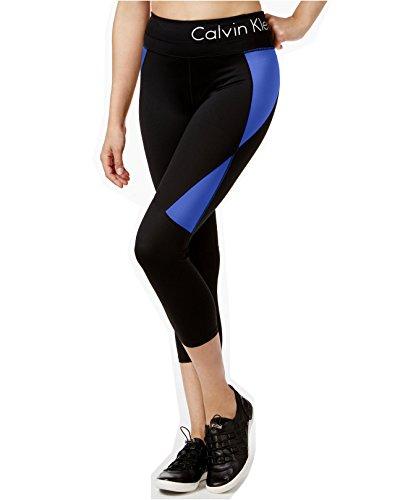 Calvin Klein Performance Women's Colorblocked Logo Capri Leggings (X-Small, Black/Surf)