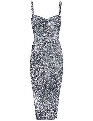 Whoinshop Women's Sleeveless Bodycon Glitter Club Party Midi Dress (XL, - Glitter Dress