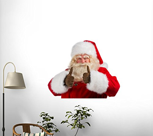 Santa Claus Standing Isolated on White Background and Thumbs up Peel and Stick Fabric Wall Sticker by Wallmonkeys Wall Decals - 72 Inches W x 48 Inches H