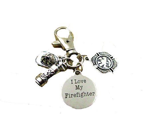 FIREFIGHTER Key Chain on Hook with Fire Hat,Extinguisher,Fire Badge,I Love My Firefighter Charm,