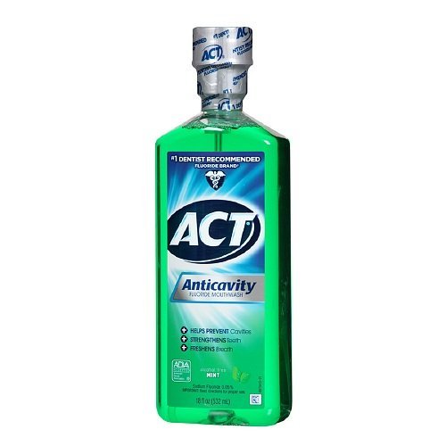 ACT Anticavity Fluoride Mouthwash, Mint, Alcohol Free, 18-Ounce Bottle (Pack of 3) (Mouthwash Flouride)
