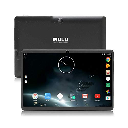 Tablet 7 inch Android 8.1 Quad Core iRULU 1024x600 Dual Camera WiFi Bluetooth 8GB Google Play Store Netflix Skype 3D Game GMS Certified (Black)