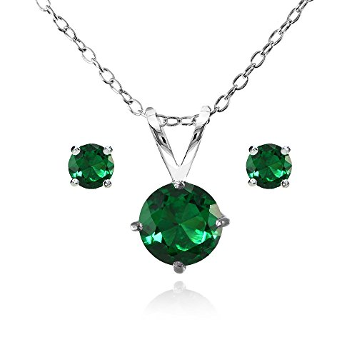 Sterling Silver Simulated Emerald Round Solitaire Necklace and Stud Earrings Set