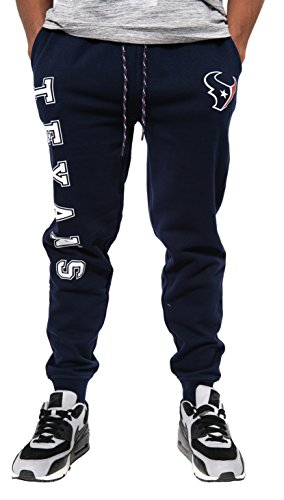 NFL Houston Texans Men's Jogger Pants Active Basic Fleece Sweatpants, Large, Navy