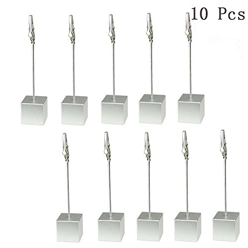 Yootop 10 Pcs Table Number Card Holders Stands Photo Memo Clips with Alligator Clasp(Silver) by Yootop