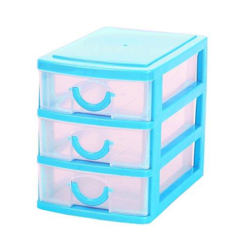 Mochiglory 3 Drawer Storage Organizer Mini Unit Desk Organizer Display Box Blue - Mini Drawers Storage