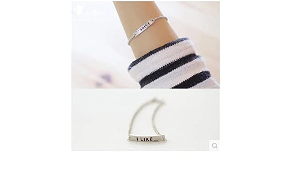 001a8a7ed2 Amazon.com : K pure English letters bracelet female Korean fine jewelry  first wave of Korean fashion accessories, silver lettering : Beauty