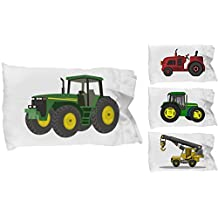 CHILDRENS TODDLER KID CONSTRUCTION TRUCK PILLOWCASE PILLOW CASE (White, Twin 20 x 30)