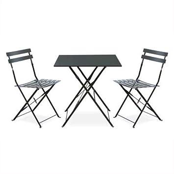 Salon de Jardin bistrot Pliable - Emilia carré Gris Anthracite - Table  70x70cm avec Deux chaises Pliantes, Acier thermolaqué