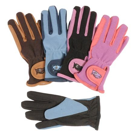 Pony Rider Childs Gloves - Tough-1 Childs Pony Gloves 6-8 Coral/Laven