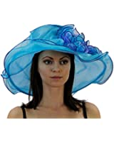 Lady Lou Two Tone Organza Derby Hat with Ruffles