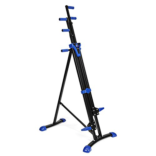 Vertical Climber Exercise Climbing Machine Folding Step Climber Cardio Stair Step (Blue)