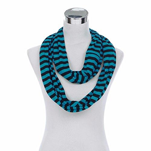 (Elegant Striped Infinity Loop Jersey Scarf, Blue)