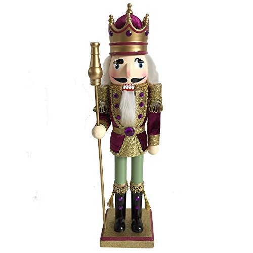 Large Christmas Figures - Christmas Holiday Wooden Nutcracker Figure Soldier King with Traditional Maroon Velvet and Gold Glitter Uniform and Crown with Sparkle Rhinestone and Braided Details, Large, 15 Inch