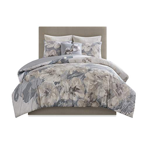 N Natori Casa Nouveau 3 Piece Metallic Print Cotton Comforter Set, King/Cal King, Grey