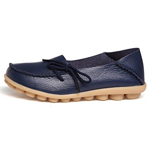 Dark On Flats Leather Casual Driving WYSBAOSHU Women's Loafers Slip Blue Moccasins Shoes XvwnCA7qgx