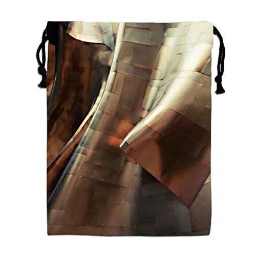 Glossy Sheets Of Metal Form Abstract Shapes In The Experience Music Project Museum Drawstring Bags Waterproof Party Favors Pouch Tote Bag For Women (Fun Halloween Activities For Music Class)