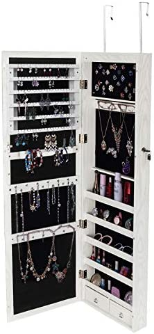 HomVent Full Body Dressing Mirror Wooden Wall Mounted Jewelry Cabinet Built-in LED Light Decoration Storage Lockable Makeup Organizer Dresser Box White
