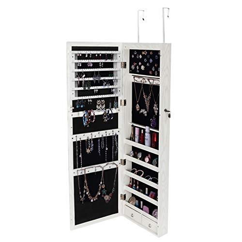 Retro PVC Wood Grain Coating Whole Body Mirror Jewelry Storage Dressing Mirror -