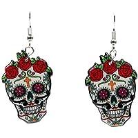 CHOUREN Hooks Sugary Calavera Skull Earrings Celebrate Mexican Day of the Dead Halloween Acrylic Cute Halloween Skull…