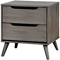 Furniture of America CM7386GY-N Lennart Gray Nightstand, 24 H