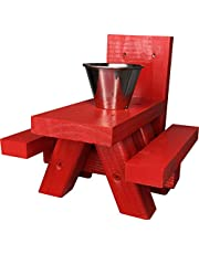 Squirrel Feeders for Outside – Large Red Squirrel Feeder Picnic Table with Cup Feed for Squirrel Food – Tree or Post Mount Squirrel Picnic Table Feeder - Made in USA - Loose Corn Food Or Peanuts
