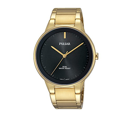 Pulsar-Mens-Easy-Style-Goldtone-Watch-with-Black-Dial-and-Bezel