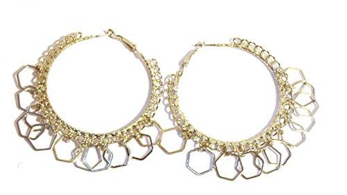 (Silver Link Hoop Earrings Ringlets 2.25 Inch Hoop Rhodium Plated)