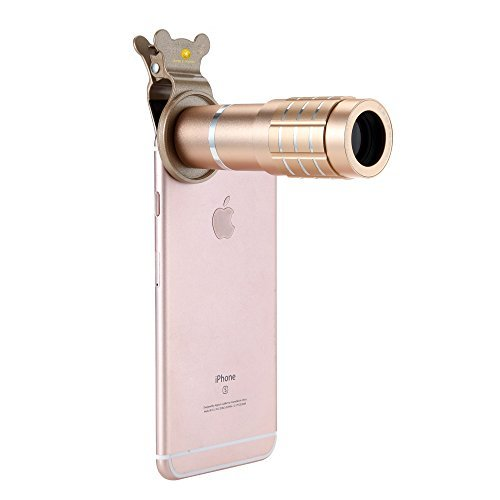 iPhone 7 Camera Lens, Metallic Gold Clip-on 12x-Zoom Telephoto Camera Lens Manual Focus Lens with Metallic Clip for Steady Grip For iPhone, Samsung Galaxy, HTC