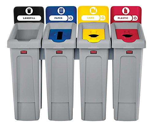 - Rubbermaid Commercial Products 2007919 Slim Jim Recycling Station, 4 Stream Landfill/Paper/Plastic/Cans