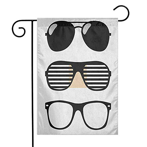 duommhome Indie Garden Flag Set of Stylized Old Fashioned Sunglasses Summer Accessories Hipster Vintage Premium Material W12 x L18 Black and White