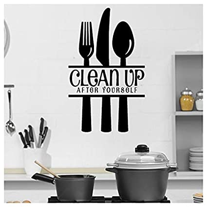Clean Up After Yourself Food Quotes Slogans Wall Stickers Kitchen