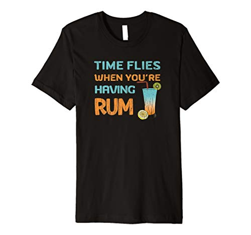 Mens Funny Drinking Time Flies When Having Rum Tropical Vacation Premium T-Shirt