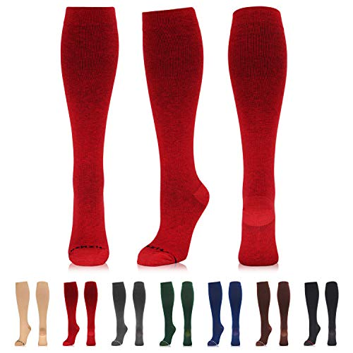 NEWZILL Compression Dress Sock (15-20mmHg) for Men & Women - Cotton Rich Comfortable Socks - Best Stockings for Business Casual, Running, Medical, Athletic, Edema, Diabetic (L/XL, Red)