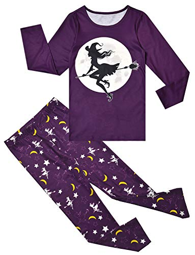 Jxstar 5t Pajamas Girls Pjs Sets Long Sleeve Kids Sleepwear Halloween Witch Clothes]()