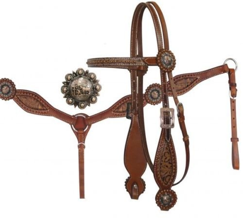 (Showman Leather Brown Filigree Headstall Breast Collar Rein Set Praying Cowboy Conchos)