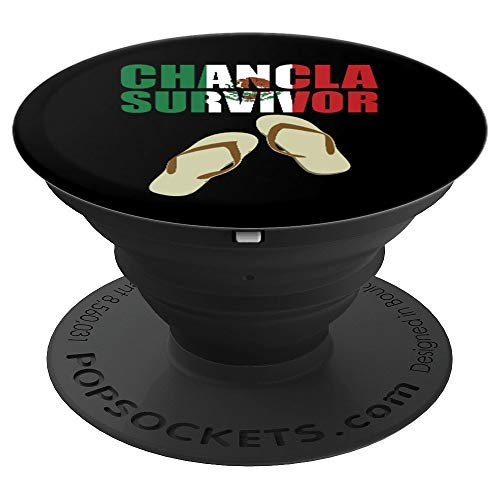 Chancla Survivor Mexican Flag Mexico Aztec Funny Loteria  PopSockets Grip and Stand for Phones and Tablets (Para Mexico)