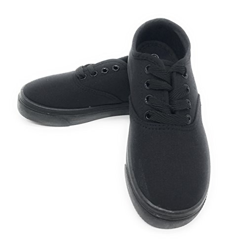 EASY21 Women Canvas Round Toe Lace Up Flat Sneaker Oxford Boat Shoe,All Black,Size 7.5