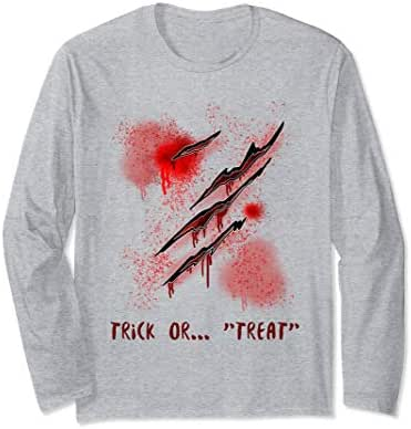 Fun gift T Shirt Scary cut bleeding scar Halloween Tee Long Sleeve T-Shirt