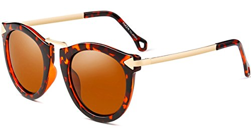 (ATTCL Vintage Fashion Round Arrow Style Polarized Sunglasses for Women 11189 Leopard)