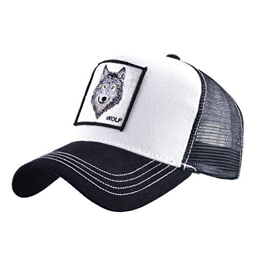 Unisex Animal Mesh Trucker Hat Strapback Square Patch Baseball Caps (One Size, Black White Wolf) -