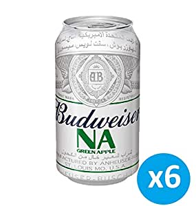 "Budweiser Apple Flavour ""Non Alcoholic "" Beer Can - 355 ml (Pack of 6)"