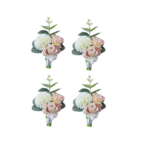 MOJUN Boutonniere Buttonholes Groom Groomsman Best Man Rose Wedding Flowers Accessories Prom Suit Decoration, Pack of 4