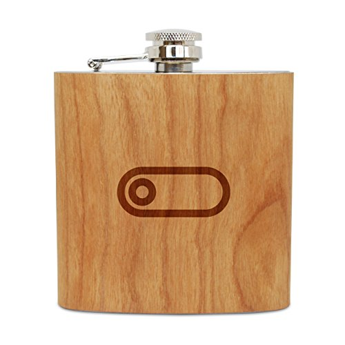 Engraved Toggle (WOODEN ACCESSORIES COMPANY Cherry Wood Flask With Stainless Steel Body - Laser Engraved Flask With Toggle Design - 6 Oz Wood Hip Flask Handmade In USA)