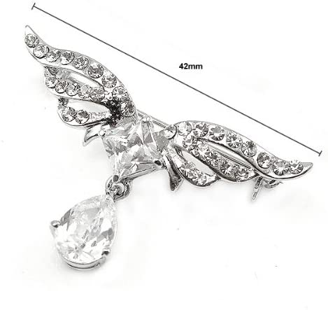 Glamorousky Elegant Wing Brooch with Silver Austrian Element Crystal 382