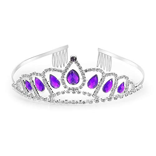 7Queen Sofia Princess Tiara Amulet Costume Accessories Crystal Crown Silver Plated Birthday Gifts for Girls (Sofia The First Crown) -