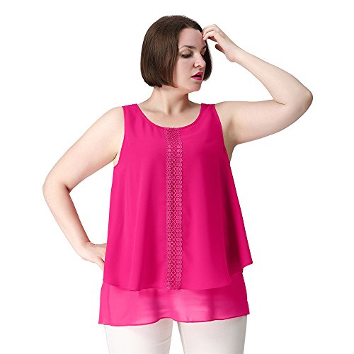 TM Plus Size Casual Loose Fit Tunic Dressy Clubbing Tank Tops for Women Workout 28W Hot Pink