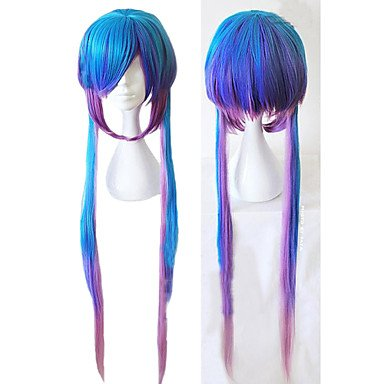 HJLHYL-Angelaicos Women Vocaloid 3 Aoki Lapis Gradient Blue Mixed Color Long Sexy Lady Halloween Cospaly Costume Party Wigs ()