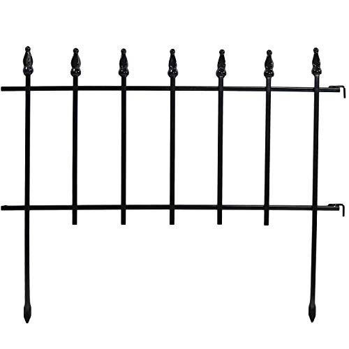 Sunnydaze 5 Piece Roman Border Fence Set, Decorative Metal Garden Fencing, 18 Inches x 22 Inches Wide Each Piece, 9 Feet Overall ()