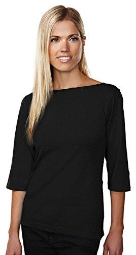 Tri-Mountain 3/4-sleeve Boat Neck Knit Shirt - 139 Cypress Black